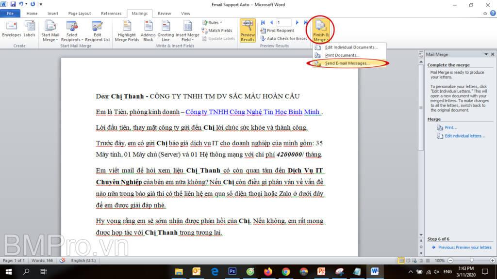 Dùng mail merge để gửi email đến khách hàng