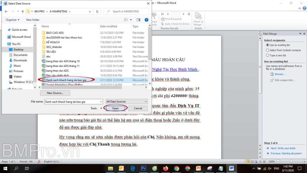 Hướng dẫn dùng mail merge gửi mail hàng loạt - BMPro