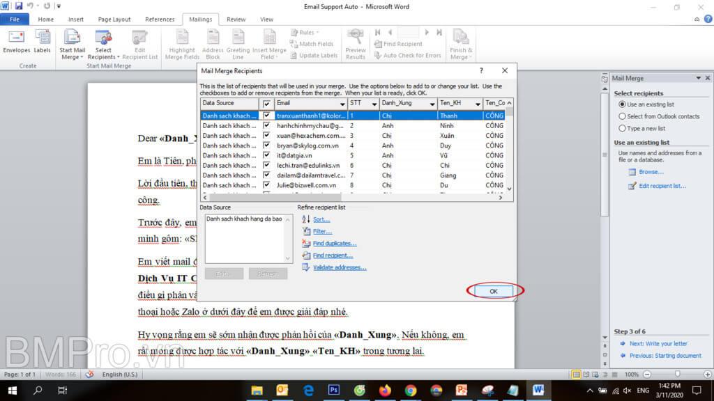Gửi mail hàng loạt bằng mail merge