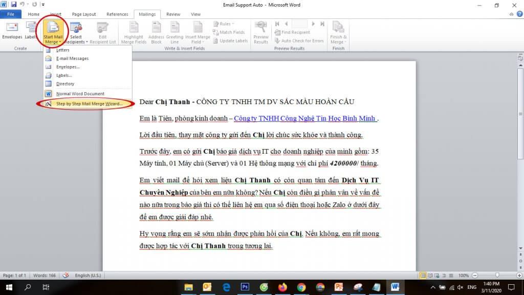 Hướng dẫn sử dụng mail merge - BMPro