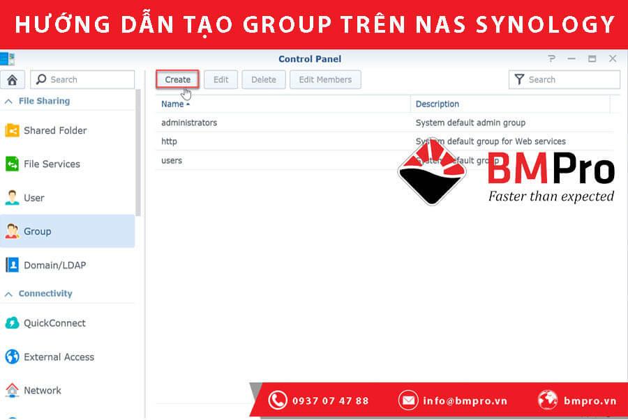 Hướng dẫn tạo Group trên NAS Synology