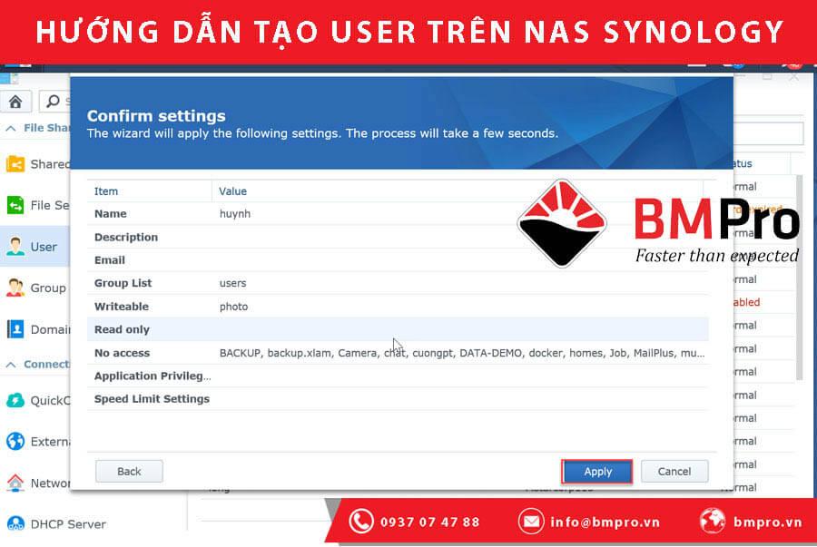 Hướng dẫn tạo User trên NAS Synology