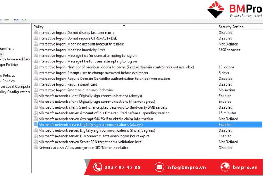 Tắt tính năng ký gói SMB Server Message Block Packet Signing