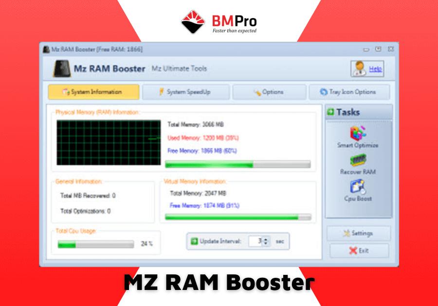 phần mềm tối ưu RAM MZ RAM Booster