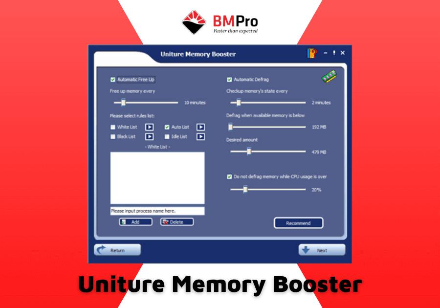 phần mềm tối ưu RAM Uniture Memory Booster