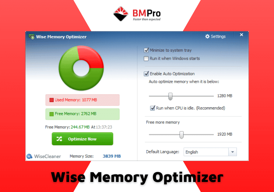 phần mềm tối ưu RAM Wise Memory Optimizer
